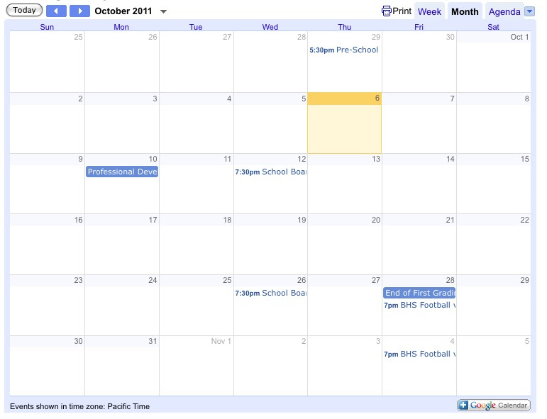 Google calendar graphic