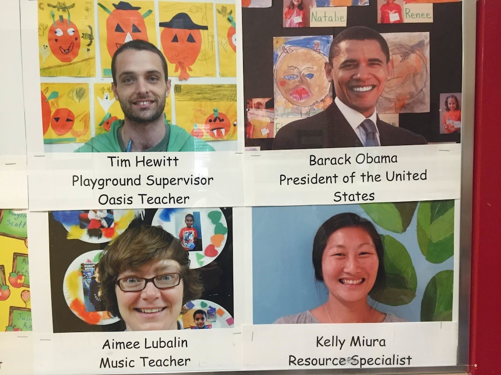 Teachers posterboard including Obama!