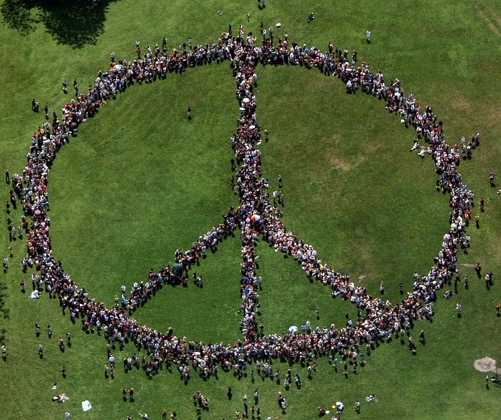 human peace sign from above