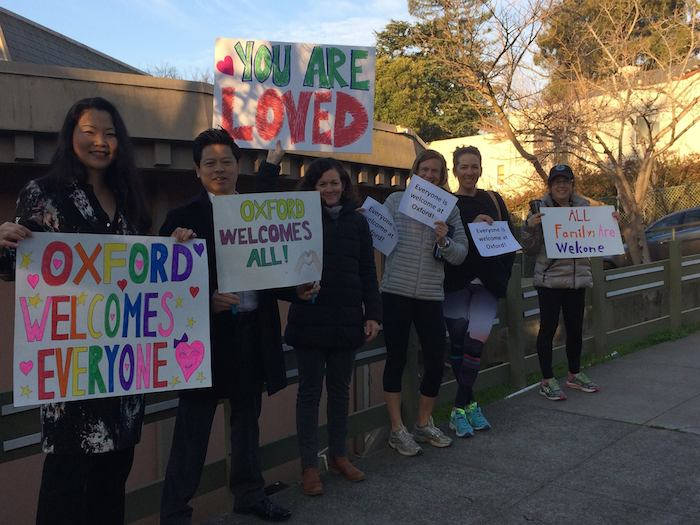 Berkeleyside photo of Oxford parents welcoming all students